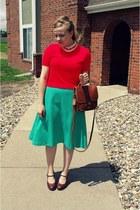 aquamarine vintage skirt - red vintage sweater