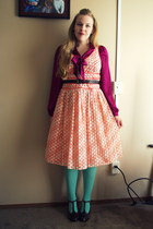 aquamarine Target tights - bubble gum JC Penny dress - magenta Macys blouse