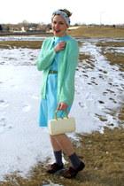 light blue vintage dress - white vintage bag - periwinkle vintage socks