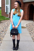 sky blue vintage dress - black Old Navy hat - black coach purse