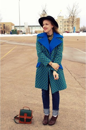 blue vintage coat - green vintage coat - black vintage hat