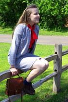 periwinkle vintage suit - tawny coach bag