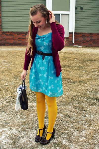crimson Croc heels - sky blue kohls dress - maroon Target sweater