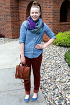 bronze coach purse - sky blue Old Navy shirt - tawny Lauren Conrad pants