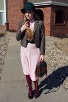 light pink vintage dress - teal vintage hat - magenta Walmart tights