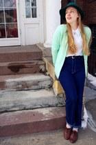 navy vintage jeans - forest green vintage hat - aquamarine vintage cardigan