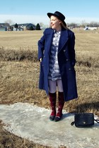 navy vintage coat - light blue vintage dress - black vintage hat