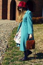 turquoise blue vintage coat
