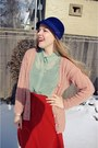 Light-pink-vintage-cardigan-navy-old-navy-hat-carrot-orange-vintage-skirt