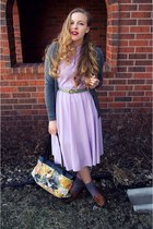 light purple vintage dress - heather gray Target cardigan