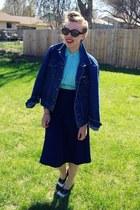 aquamarine vintage blouse - navy vintage skirt