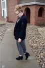 Navy-vintage-blazer-heather-gray-vintage-skirt-white-macys-top