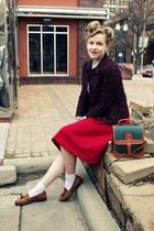 ruby red vintage suit - light blue vintage blouse - light brown vintage loafers