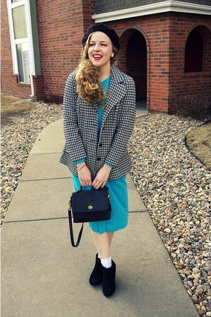 black vintage jacket - sky blue vintage dress