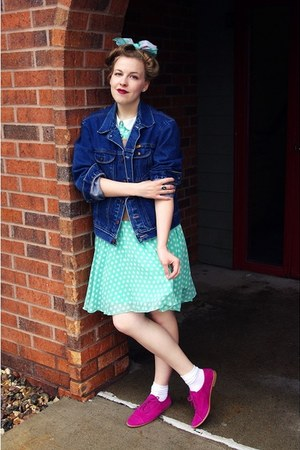 hot pink Gap shoes - aquamarine Shabby Apple dress - navy vintage jacket