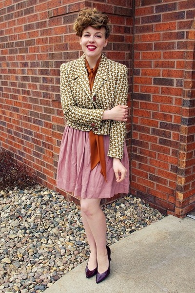 light brown vintage jacket - pink swapped skirt - crimson Payless heels
