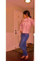 jeans - vintage blouse - red Madeline Stuart shoes - black Patricia de Morales a