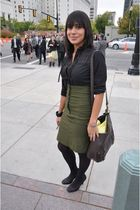 green Charlotte Ruse skirt - BCBGgirls shoes - brown thrifted purse - black Stev