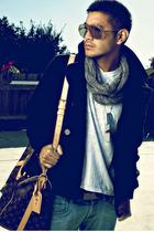 gray America Apparel scarf - black H&M jacket