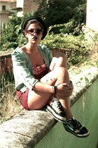 top floreale t-shirt - shoes - hat - jeans jacket - shorts - sunglasses