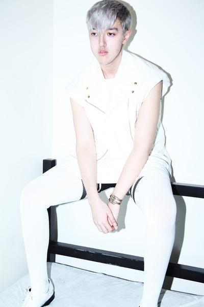 white thigh high American Apparel socks - white tall Hanes t-shirt