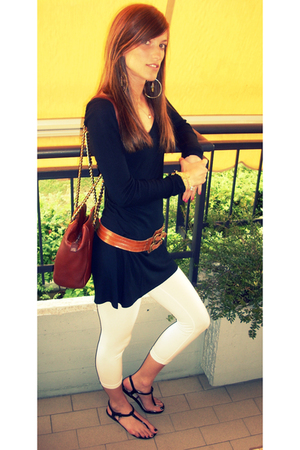 tezenis dress - vintage belt - Zara leggings - Burberry shoes - Prada purse