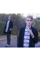 white Topman shirt - black Levis jeans - navy New Balance sneakers