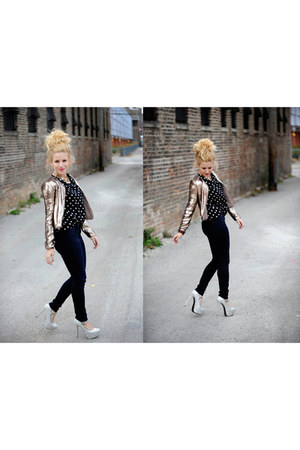 silver Lulus jacket - Steve Madden heels - pitaya top