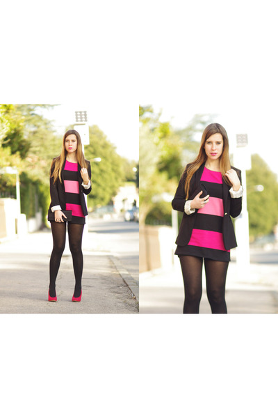 Zara blazer - H&M dress - Calzedonia tights - Zara heels