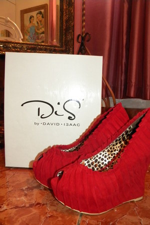 red shoes David Isaac wedges