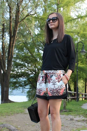 black Prada sunglasses - orange Stradivarius shorts - black intimissimi top