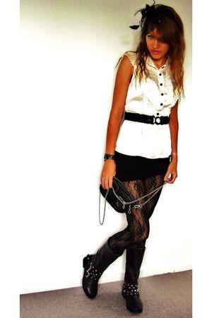 beige H&M blouse - black skirt - black leggings - black accessories - black boot