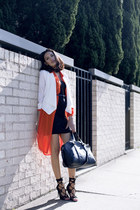 black bowler Sportsgirl bag - carrot orange restraint dress wish dress