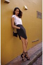 black cut out Forever New bag - black asymmetrical Sheike skirt