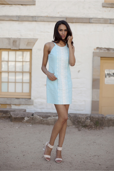 light blue embroidered Forever New dress - nude peeptoe sandals