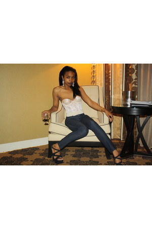 corset christian dior top - dark denim Joes Jeans jeans - f21 heels