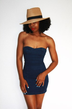 wide brim f21 hat - denim mini vintage dress
