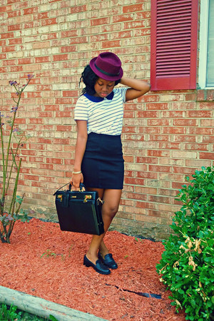 magenta hat - white blue-collared shirt - black vintage loafers