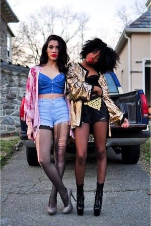 gold jacket - black boots - bubble gum kimono cape - blue jean-corset top