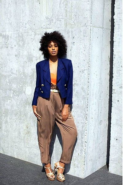 navy blazer - tan high-waisted pants - tawny top - beige strappy heels
