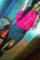hot pink blouse - tawny vintage bag - gray fitted skirt
