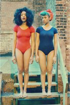 carrot orange swimwear - navy swimwear