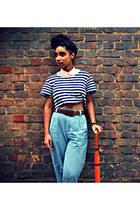 blue striped top - sky blue high-waisted pants