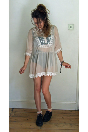 neutral sheer lace TK Maxx dress - black Topshop shorts