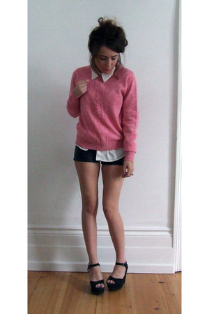 black leather H&M shorts - pink wool vintage jumper