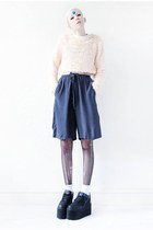 navy polka dot Mind the Mustard shorts - black platforms Cute to the Core shoes