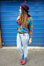 blue vintage shirt - light blue Primark jeans - deep purple Topshop hat