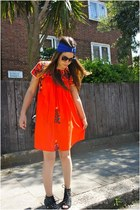 black Office boots - carrot orange Rokit dress