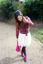 magenta vintage blouse - magenta Irregular Choice boots - hot pink longchamp bag