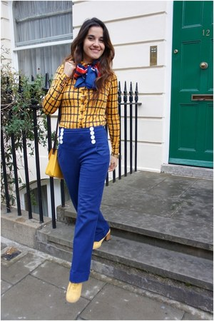mustard Primark shoes - gold Primark bag - navy BLANCO pants - gold H&M blouse